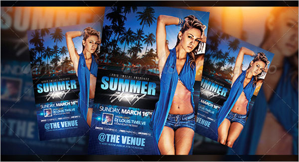 Clean Summer Party Flyer Template