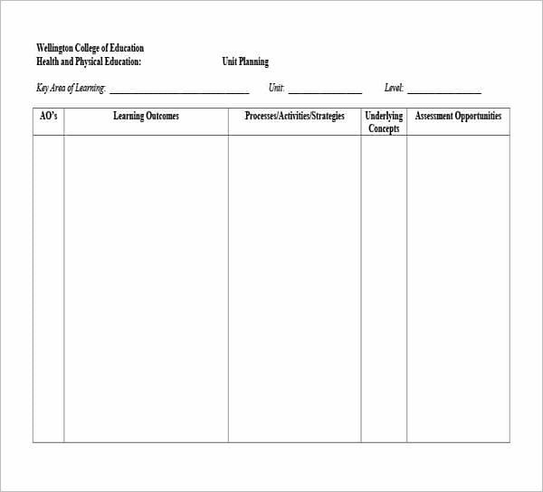 College Unit Plan Template