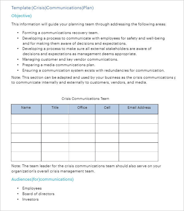 Communication Plan Template Free Download