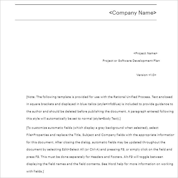 Company Development Plan Template