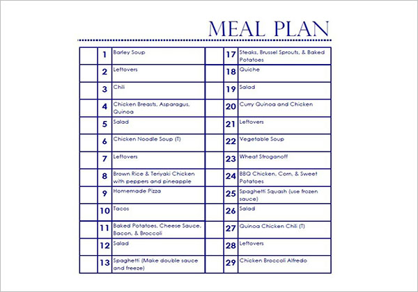 Detailed Meal Plan Template