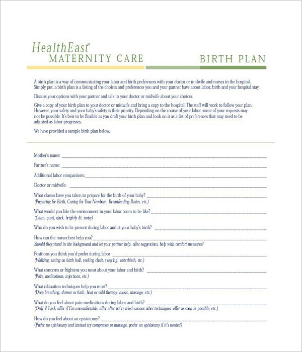Developing A Birth Plan Example