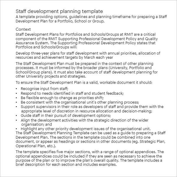 Development Plan Template Word