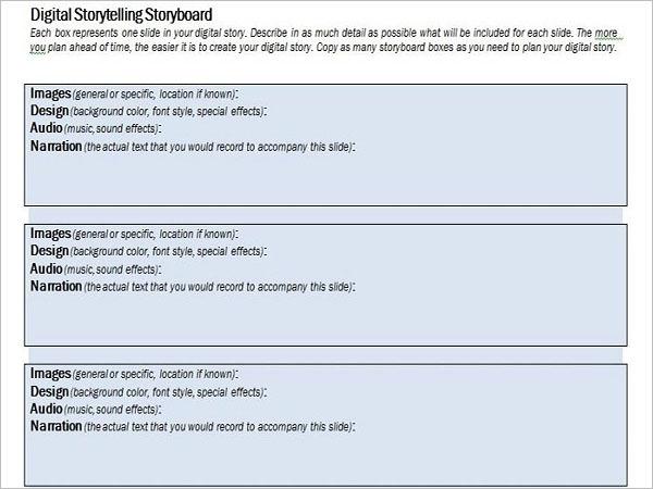 Digital Storytelling Storyboard Sample