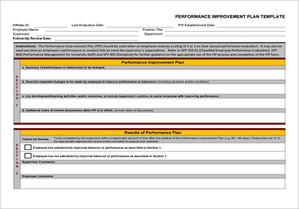 Download Performance Improvement Plan Template