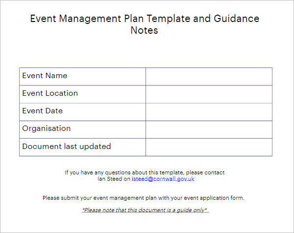 Event Management Planning Template