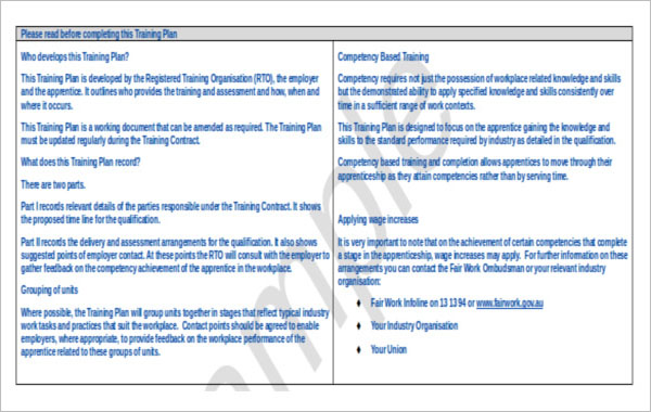 Example For Training Strategy Template