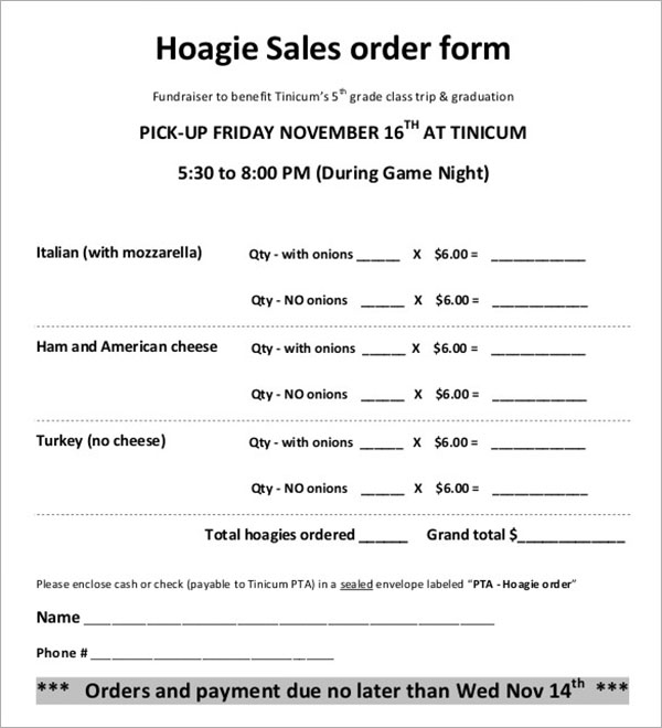 Example for Hoagie Sales Order