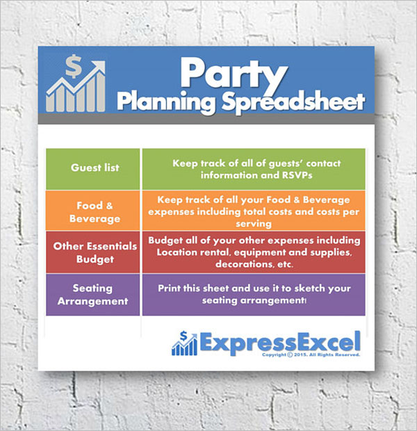 Excel Party Planning Template