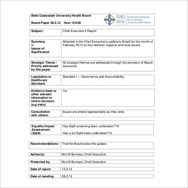 Executive Report Template DOC