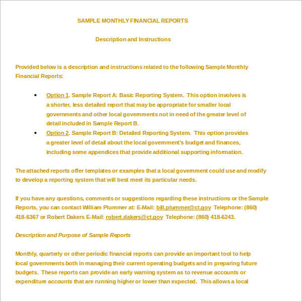 Financial Cover Report Template