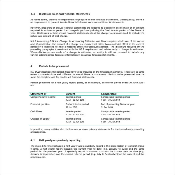 Financial Flash Report Template