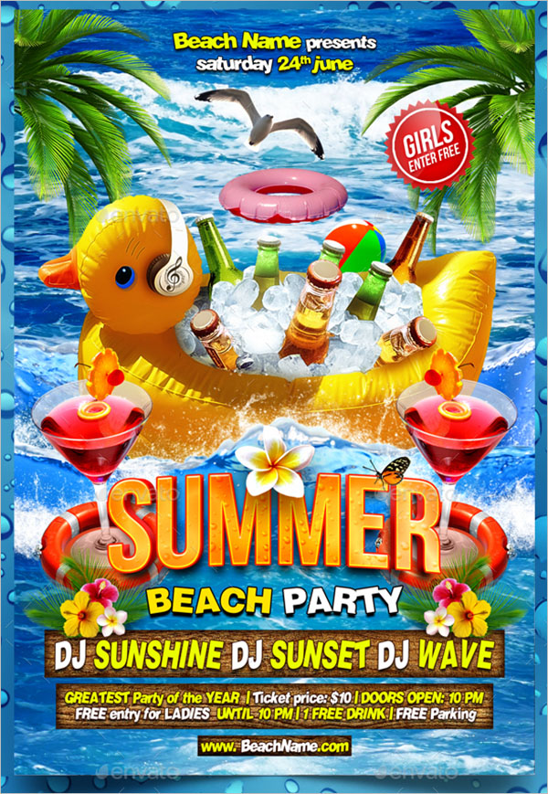 Flyer Template For Summer Beach Party