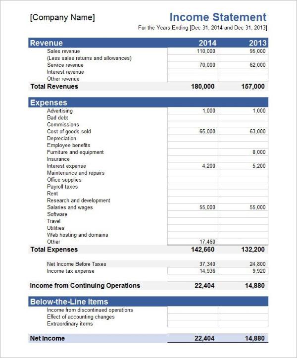 Free Income Statement Template