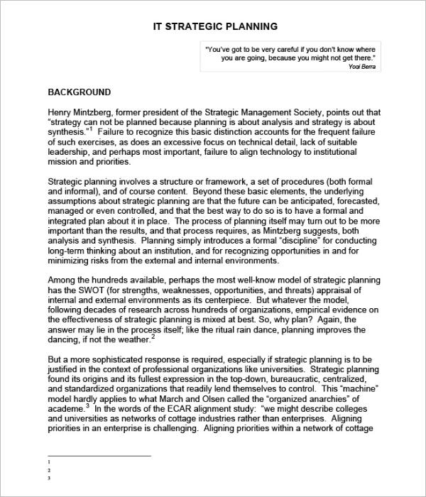 Best Strategic Plan Templates Free Word PDF Sample Formats - It strategic plan template