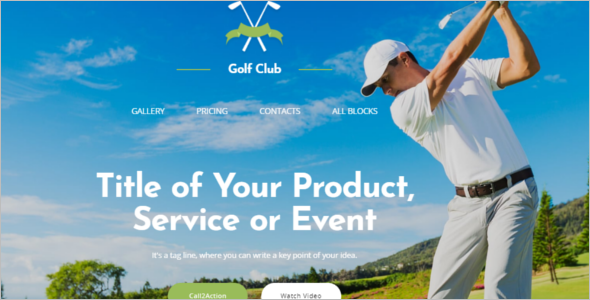 Golf Gaming Landing Page Template