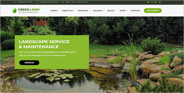 Green Landscaping WordPress Theme