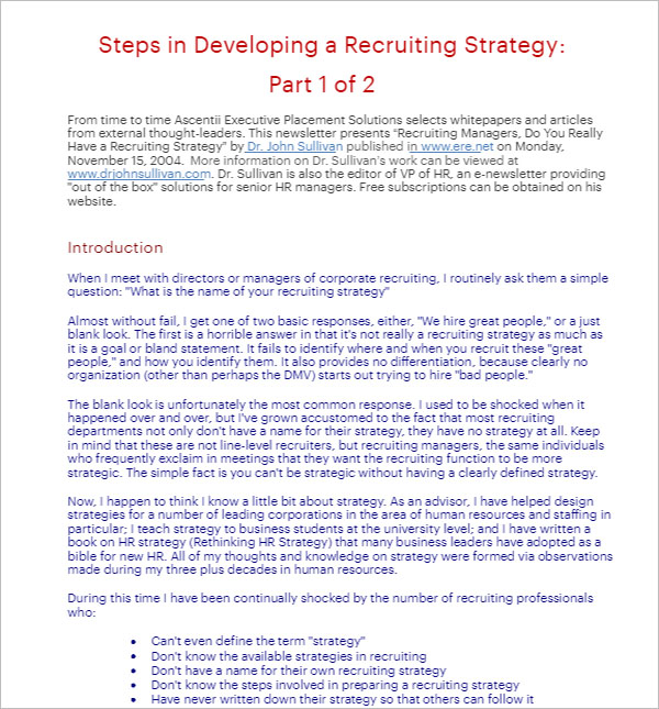 HR Recruiting Strategy Template