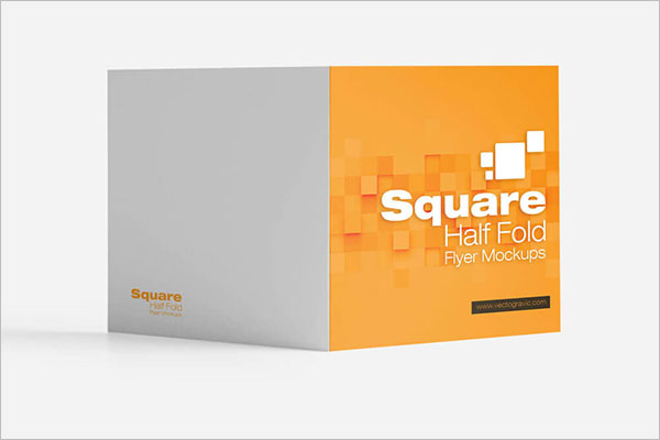 Half Fold Brochure Mockup Free PSD