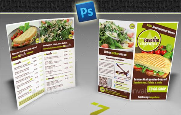 Half Fold Menu Brochure Template