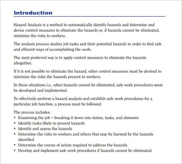 Hazard Analysis Template Free Download