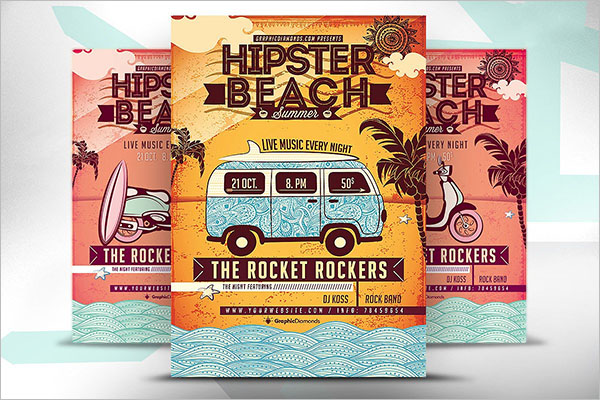 Hipster Summer Party Flyer Template