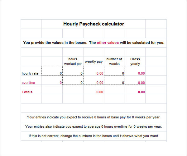 Hourly Paycheck Salary Calculator Template