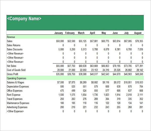 Income Statement Excel Format
