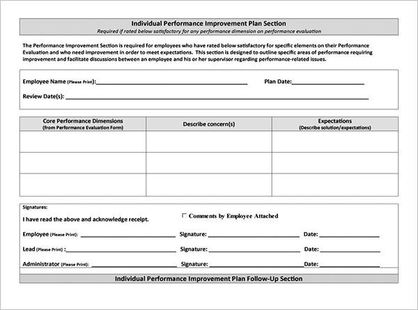 Individual Performance Improvement Plan