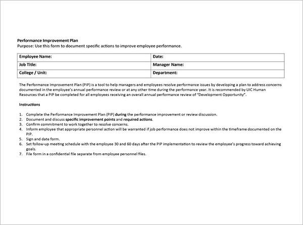 Job Performance Improvement Plan Letter