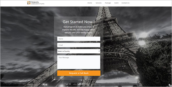 Landing Page Template For Tours & Travel