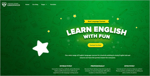 Language School Website Template
