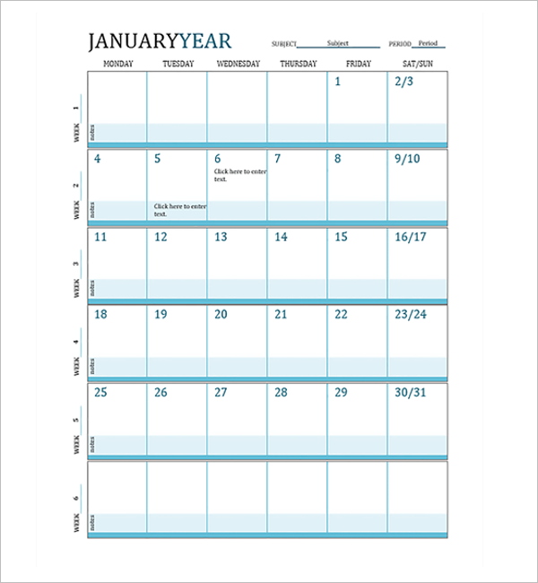 Lesson Plan Calendar Template