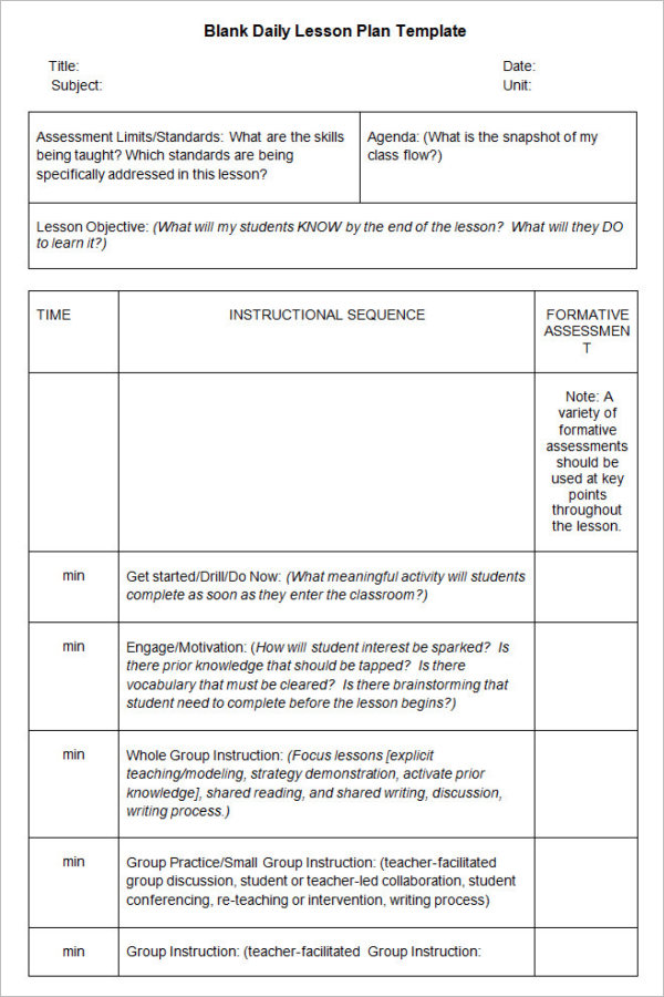 Lesson Plan Template Google Docs