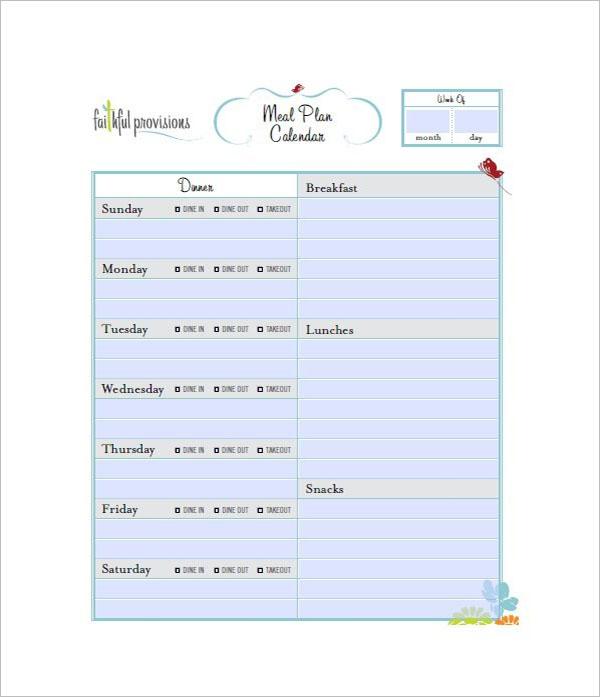 Meal Plan Calendar Template