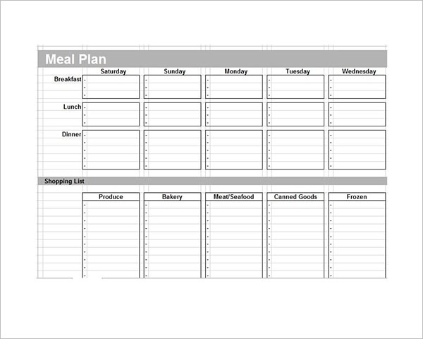 Meal Plan Template Free Download