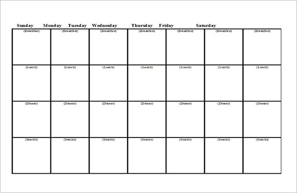 Meal Planning List Template