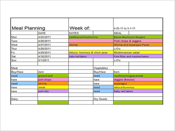 Meal Planning Template Excel Download