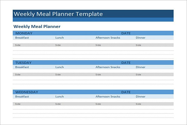 Meal Planning Template Excel