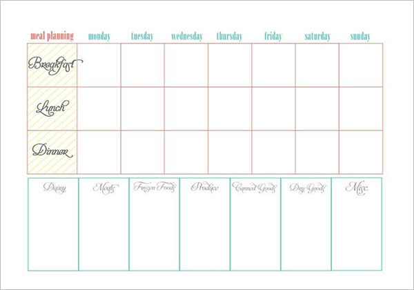 Meal Planning Template With Notes
