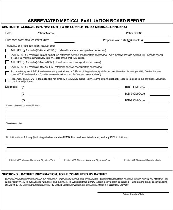 Medical Evaluation Report Template