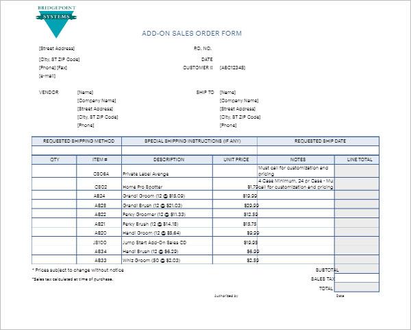 Microsoft Word Sales Order Template