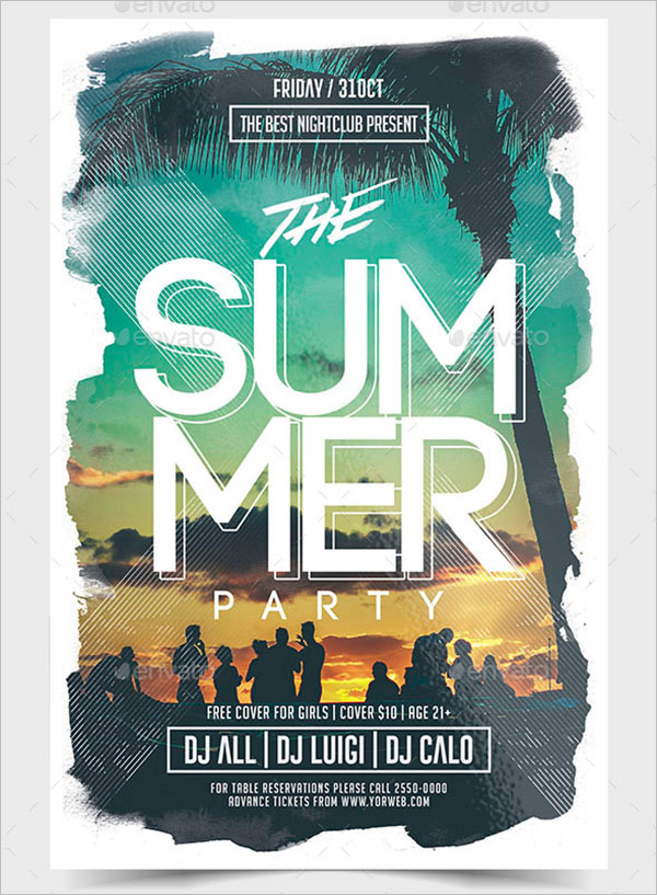 Modern Summer Party Flyer Template