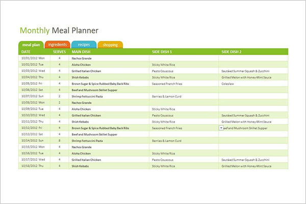 Monthly Meal Planning Excel Sheet Download