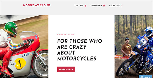 Motor Sports Landing Page Template
