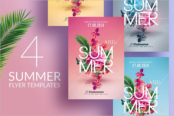Multi Color Summer Party Flyer Template