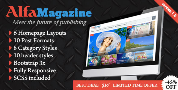 One Page Magazine Bootstrap Template