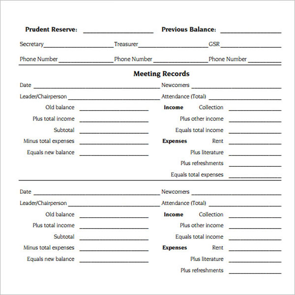 PTA Treasurer Report Template
