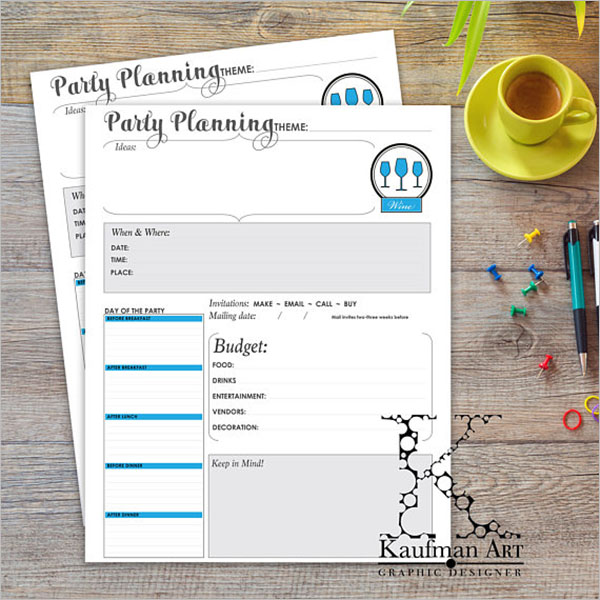 Party Planning Worksheet Template