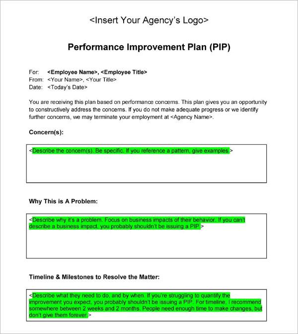 Performance Improvement Plan Sample Template
